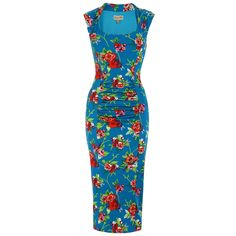 Margarita wiggle dress in a slinky blue floral print material. With ruched tummy area and cap sleeves. Vintage Inspired Dresses, Vintage Style Dresses, Vintage Outfits, Dress Vintage, Funny Fashion, 1950s Fashion, Vintage Fashion, Women's Fashion, Lindy Bop Dress
