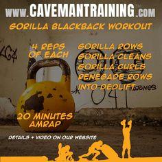 Gorilla Blackback Workout Kettlebell Workout Routines, Kettlebell Training, Workout Schedule, Hiit, Fun Workouts, Training Workouts, Cardio, Bodybuilding Quotes, Bodybuilding Supplements
