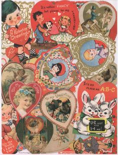 Happy Valentine's Day!!! ♥ Sweet Vintage Valentine Collage printable... Right-click to save to your computer and print from your...