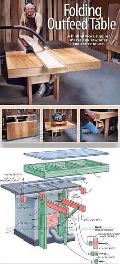 Folding Table Saw Outfeed Table - Table Saw Tips, Jigs and Fixtures | WoodArchivist.com