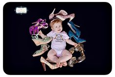 6 month pose with mommy's shoes Minnie Mouse, Disney Characters, Fictional Characters, Poses, Christmas Ornaments, Holiday Decor, Photography, Art, Figure Poses