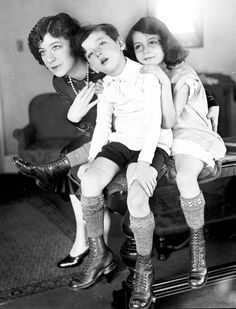 Fannie Brice and her children, Frances and William, November 13, 1925. Frances and William's father was professional gambler Nicky Arnstein. Brice stood by Arnstein as he served time at Sing Sing Prison, only to be abandoned by him upon his release in 1927. Brice was a Ziegfeld Follies girl and perhaps best known for her role as Baby Snooks, She was later portrayed by famed actress Barbra Streisand in