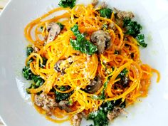 """butternut squash """"noodles"""" with sausage, mushroom and kale"""