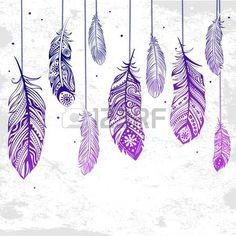 Bella ilustración de plumas se puede utilizar como una tarjeta de felicitación photo