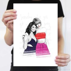 Taylor Swift and Selena Gomez – Print, Illustration, Drawing, Sketch, Art, Poster. By Incandescent Design www.incandescent.design