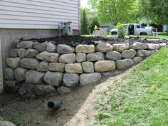 boulder retaining walls - at&t yahoo Image Search Results Boulder Retaining Wall, Retaining Walls, Garden Borders, Walkout Basement, Basement Ideas, Bouldering, Garden Landscaping, Landscape Design, Image Search