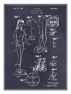 1961 Barbie Doll Toy Patent Print Reproduction Poster 18 x 24 Gift   Fabricar Barbie fue costoso en USA asi que se ha fabricado en el extranjero.The debut doll released in 1959 was produced in Japan, with a number of other countries following as manufacturers, including Taiwan, Hong Kong, the Philippines, Korea and Mexico. Tambien se produjo en Venezuela, Brasil, España y otros paises con sus propios trajes de confeccion nacional.