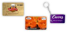 Cartão em PVC e Mini cartão em PVC com chaveiro