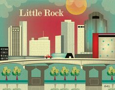 Little Rock, Arkansas Skyline - City Poster Print for Home, Office, or Nursery Room/Children's Art - 11 x 14 - style sold by Loose Petals. Shop more products from Loose Petals on Storenvy, the home of independent small businesses all over the world.