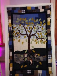 Our guest book quilt at our wedding. Everyone signed a leaf.