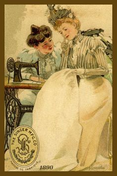 Two Women Sewing - 1890 Trade Card. Quilt Block printed on cotton. Ready to sew. Single 4x6 block $4.95. Set of 4 blocks with free wall hanging pattern $17.95
