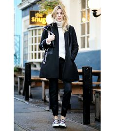 @Who What Wear - Camille Charrière of Camille Over The Rainbow  Style Tip: Your plaidsneakers will look cozy with a chunky-knit turtleneck. On Charrière: Club Monaco coat, sweater, and pants; Celine sneakers.