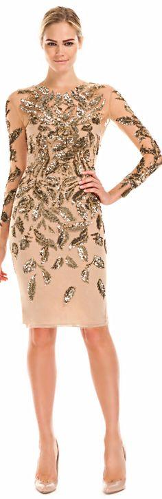 Marchesa ● Embroidered Illusion Dress