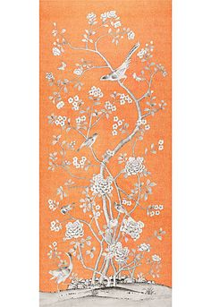 Chinois Palais in Tangerine by @Mary McDonald from @Schumacher — Fabric Wallcovering Trimming Furnishing #fabric #linen #chinoiserie #birds #floral #orange