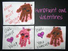Handprint and Footprint Art : Handprint Owl Valentine's Day Cards