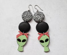 Unique alien earrings unusual earrings long black white and | Etsy