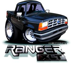 Ford Ranger Truck, Ford Trucks, Cars Toons, Bronco Ii, Truck Art, Cartoon Styles, 4x4, Muscle, Vehicles