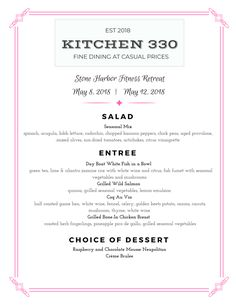Menu customize designed for Stone Harbor Fitness Retreat - Spring 2018 North Wildwood, Executive Chef, Fine Dining, New Jersey, Menu, Events, Stuffed Peppers, Stone, Spring