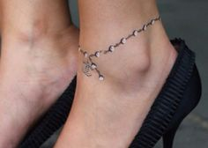 Anklet tattoo idea. Dainty anklet tattoo