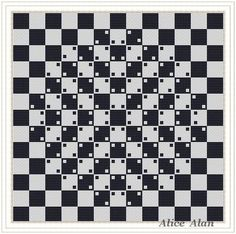 Pattern Abstract Cross Stitch Pattern-Abstract with optical effect on chess Board (style minimali. Counted Cross Stitch Patterns, Cross Stitch Designs, Geometric 3d, Black And White Abstract, Black White, Panel Art, Pattern Drawing, Tapestry Crochet, Bargello