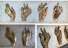 cuadros con encanto para sofas, dormitorios, salones ESTUDIO DELIER | cuadro plateado manos henna