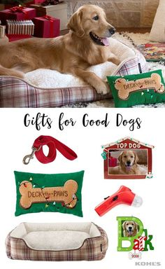 "Don't forget to fill your favorite pet's stocking this Christmas, too! Featured product includes: St. Nicholas Square ""Deck the paws"" small oblong throw pillow and ""Top dog"" 4x6"" frame, Cuddl Duds rectangular cuddler pet bed, Protocol dog treat launcher, Merry Products double diner pet bowl set - small, Majestic Pet extra-strength leash - 6-feet, dog ""bark"" photo holder 2016 Hallmark keepsake Christmas ornament. Make your dog's day with Kohl's."