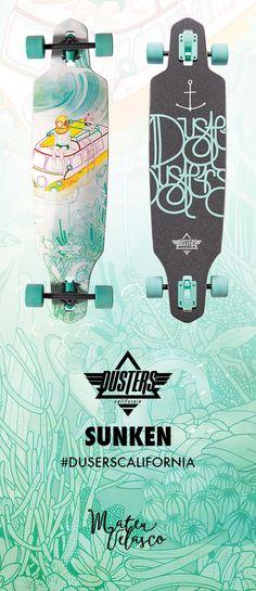 Dusters Sunken Dropthrough longboard featuring art by Mateu Velasco