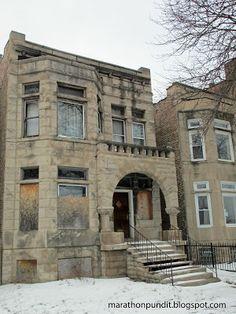 Abandoned Chicago Greystone In The Englewood Neighborhood On South Side