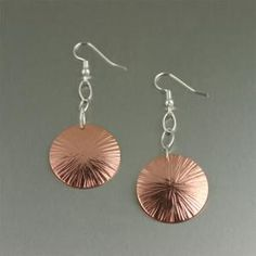 Cool Chased Copper Disc Earrings #CopperJewelry #CopperEarrings http://www.copperanniversarygifts.com/product/chased-copper-disc-earrings/
