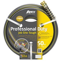 Teknor Contractor Rubber and Vinyl Hose (3/4 in x 50 ft), Grey #988VR50