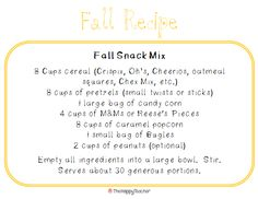 Fall Snack Mix recipe - great for school or game night