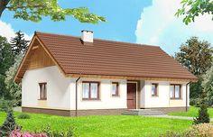 Projekt domu parterowego Talia mała o pow. 97,45 m2 z dachem dwuspadowym, z tarasem, sprawdź! Beautiful House Plans, Beautiful Homes, Build My Own House, Home Fashion, Home Projects, Malaga, Gazebo, Home Goods, Sweet Home