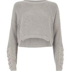 River Island Grey lace-up eyelet sleeve cropped sweater (1.935 UYU) ❤ liked on Polyvore featuring tops, sweaters, jumpers, grey, knitwear, women, long sleeve sweater, grey knit sweater, long-sleeve crop tops and gray knit sweater