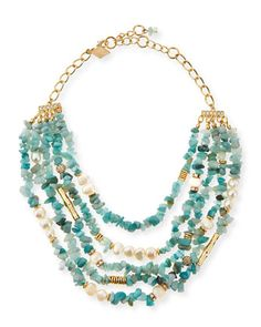 Multi-Strand Agate & Pearl Necklace, Mint by Sequin at Neiman Marcus.