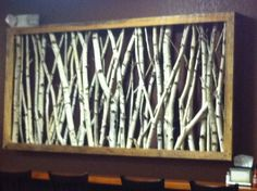 Very cool, love it!  real birch tree branches in a frame.  Jay is making me one of these!