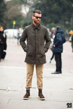 Federico Rosignoli - Slick hair, warm socks, Junya Watanabe coat