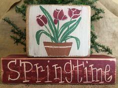 Primitive Country Spring Flowers Springtime Easter Shelf Sitter Wood Block Set #PrimtiiveCountry
