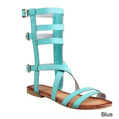 REFRESH ONGEE-08 Women Strappy Buckle Cage Mid Calf Boot Flat Gladiator Sandal, Color:BLUE, Size:8 >>> Be sure to check out this awesome product.