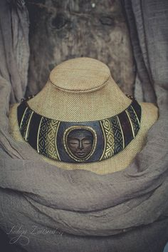 Statement necklace Bib necklace tribal necklace brown gold