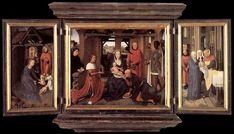 Hans Memling-Trittico di Jan Floreins, 1479, olio su tavola, 46,3×57,4 cm (pannello centrale), 48×25 cm (ciascuno scomparto laterale), Bruges, Hans Memlingmuseum