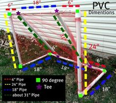 """DIY PVC Pipe Soccer Goal - """"My husband wanted our daughter to be able to practice at home so he decided to make a soccer goal for her. It was so easy to make and cost way less than any other soccer goal we could find. Here is how he did it!"""" #activityideas #toys"""