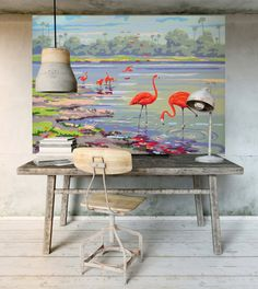 Large Wall Mural Flamingo – Vintage Paint By Numbers Wall covering– Flamingo Paintings – Living Room Wall – Birds – Nature –180cm X 120cm
