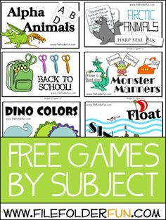 Free File Folder Games by Subject