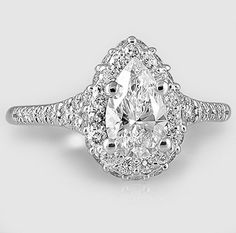 White Gold Circa Diamond Ring // Set with a Carat, Pear, Ideal Cut, D Color, Clarity Diamond Bling Wedding, Wedding Rings, Jewelry Accessories, Jewelry Design, Love Ring, Dream Ring, Diamond Rings, Pear Diamond, Beautiful Rings