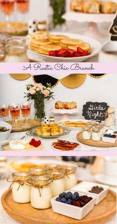 Chic Brunch Party Brunch for a girl's night dinner party is always a good idea!Brunch for a girl's night dinner party is always a good idea! Birthday Brunch, Easter Brunch, Girl Birthday, Brunch Party Decorations, Buffet Decorations, Mothers Day Dinner, Brunch Buffet, Brunch Bar, Breakfast Buffet Table