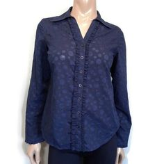 Northern Reflections Ruffled Button Down Shirt Womens Size XS Blue Spotted Top #NorthernReflections #Basic #Business Button Downs, Button Down Shirt, Blouses, Business, Long Sleeve, Sleeves, Shirts, Tops, Women