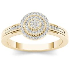 Imperial 1/6 Carat T.W. Diamond Cluster Double Halo 10kt Yellow Gold Engagement Ring #diamondengagementrings