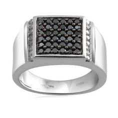 Men's Sterling Silver Black and White Diamond Ring (1 cttw, I-J Color, I3 Clarity) Amazon Curated Collection. $260.00. Made in India