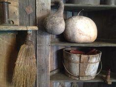 Primitive gourds, broom and wood bucket..love love!