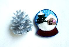 Snow globe ornament felt little house pine by PrettyFeltThings